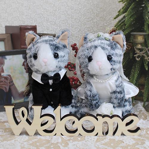 ウェルカムドール〔サバトラ猫カップル〕完成品 サバトラ猫のカップルのぬいぐるみ商品画像1 結婚式演出の手作りアイテム専門店B.G.