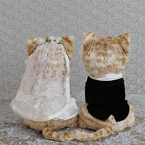 ウェルカムドール〔チャトラ猫カップル〕完成品 チャトラ猫のカップルのぬいぐるみ商品画像3 結婚式演出の手作りアイテム専門店B.G.