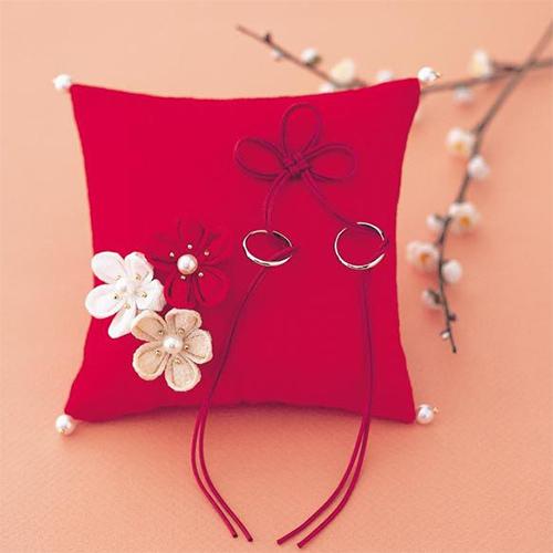リングピロー〔梅の花・赤〕手作りキット|結婚式演出の手作りアイテム専門店B.G.