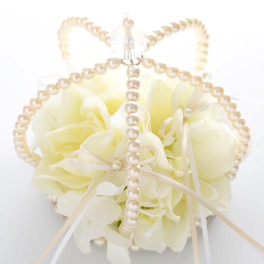 リングピロー〔クラウンブーケ・ホワイト〕完成品|結婚式演出の手作りアイテム専門店B.G.