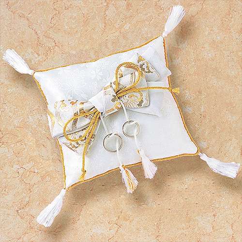 リングピロー〔和風スクエア〕手作りキット|白い和風のリングピロー商品画像1|結婚式演出の手作りアイテム専門店B.G.