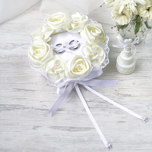 リングピロー〔ホワイトローズ〕手作りキット|結婚式演出の手作りアイテム専門店B.G.