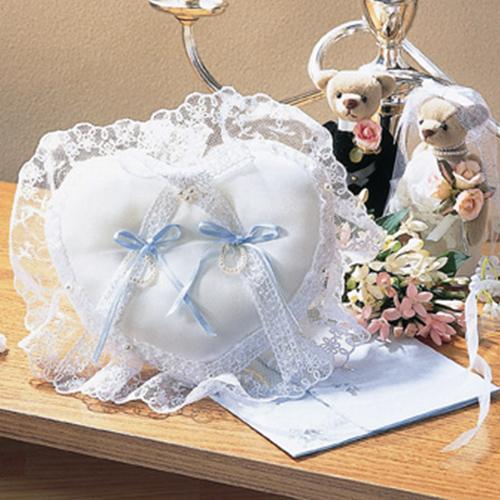 リングピロー〔レースハート〕完成品|結婚式演出の手作りアイテム専門店B.G.