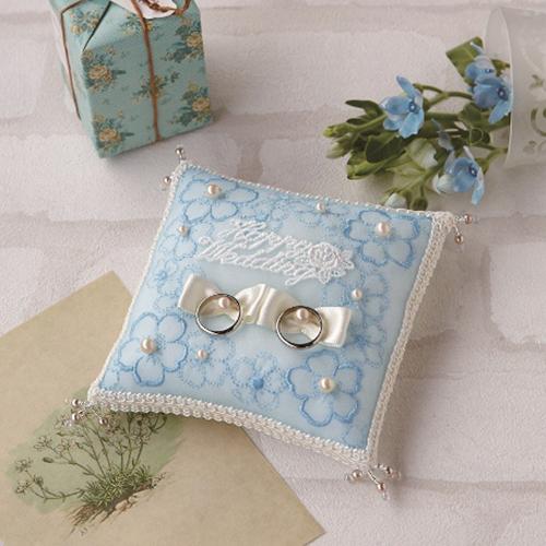 リングピロー〔青い小花〕手作りキット|結婚式演出の手作りアイテム専門店B.G.