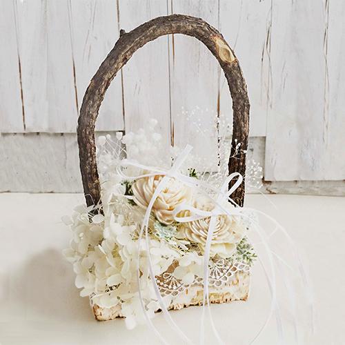 リングピロー〔白樺のカゴ〕完成品|商品画像1|結婚式演出の手作りアイテム専門店B.G.